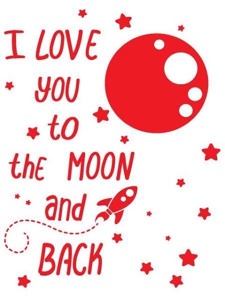 Wandtattoo Ich liebe dich zum Mond und zurck