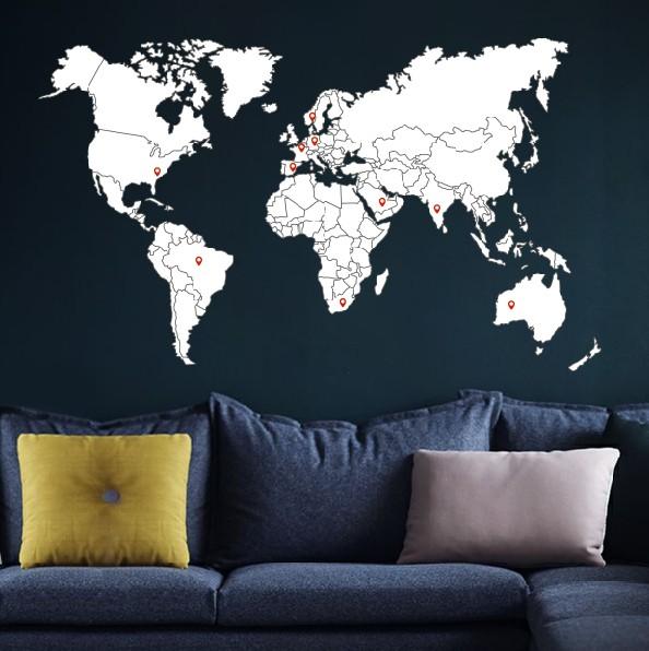 Muursticker Wereldkaart met landsgrenzen  Walldesign56com