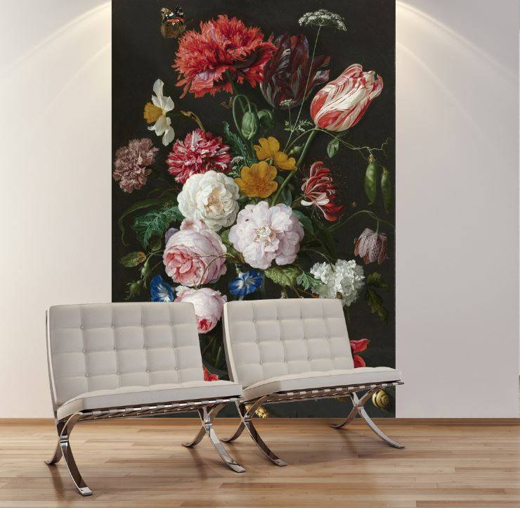 Mural still life with flowers in a glass vase  Jan