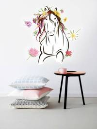 Wall Sticker Horse with flowers - Walldesign56 Wall Decals ...