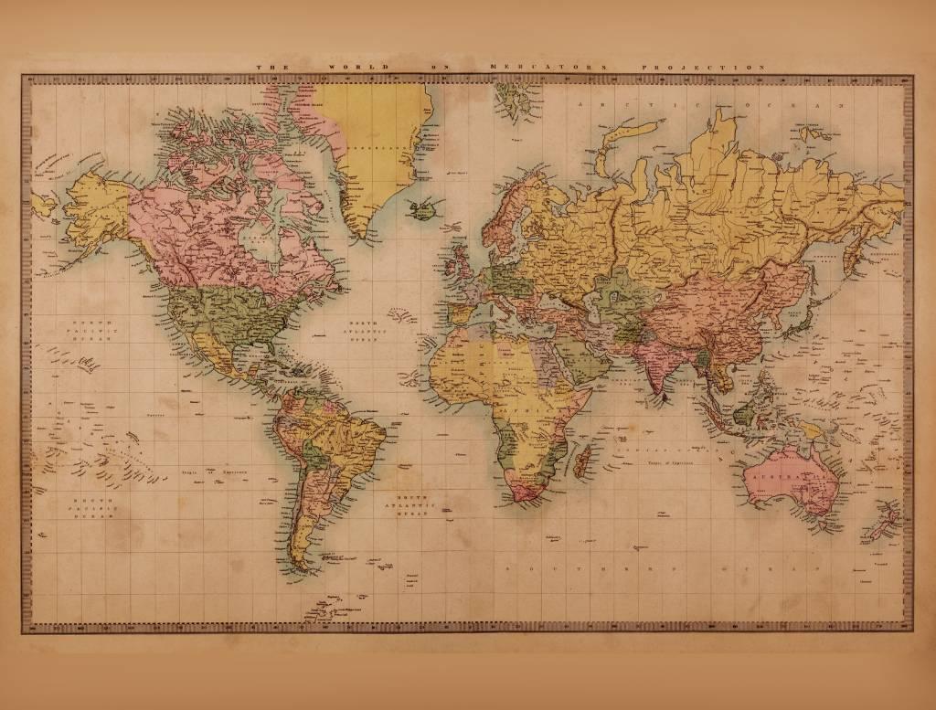 Mural Weltkarte Vintage 2  Sepia  Walldesign56