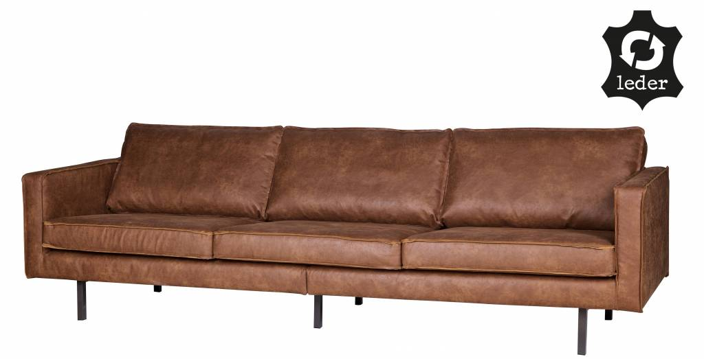 sofa seat height 60cm two tone living room furniture bepurehome 3 seater rodeo recycle leather cognac brown orangehaus