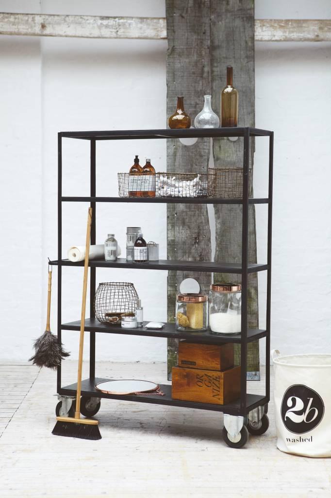 House Doctor Opbergrek zwart metaal hout  LIVING AND CO
