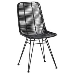 Black Rattan Chair Throw On Hubsch Studio Metal Living And Co