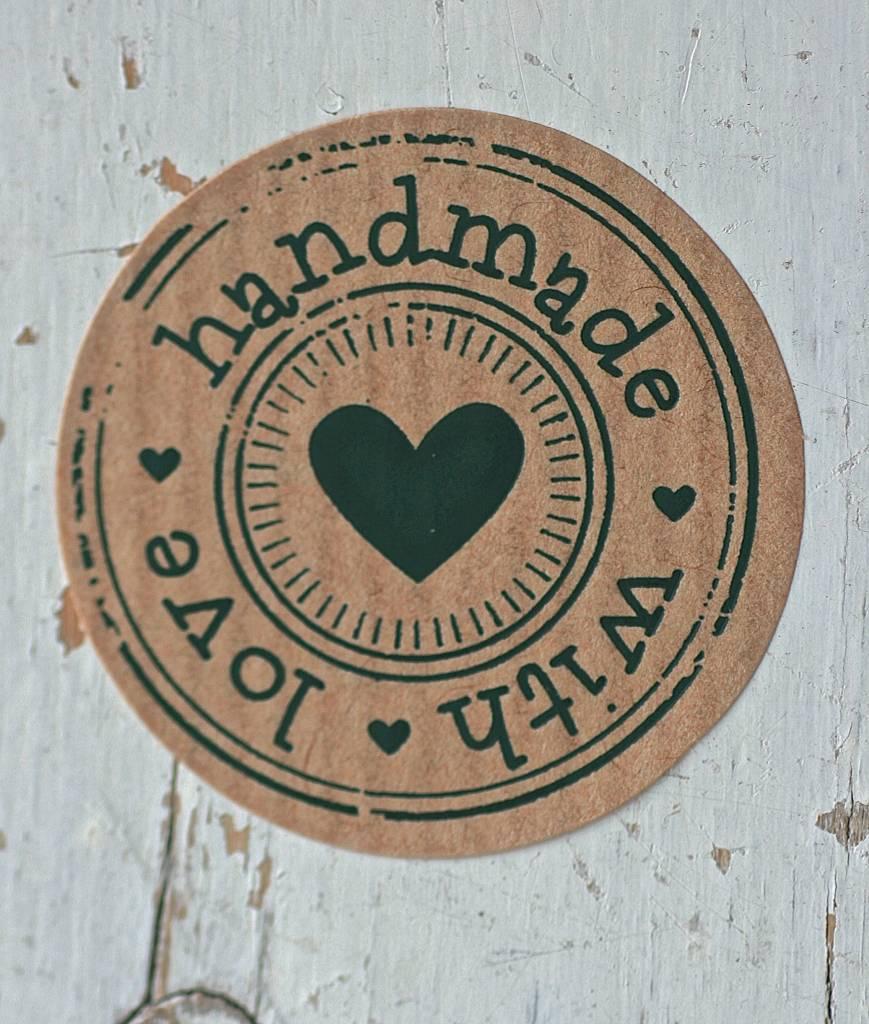Ronde Kraft sticker handmade with love 10st  label123