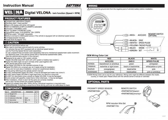 Daytona Digitaler Tacho mit Drehzahlmesser, VELONA