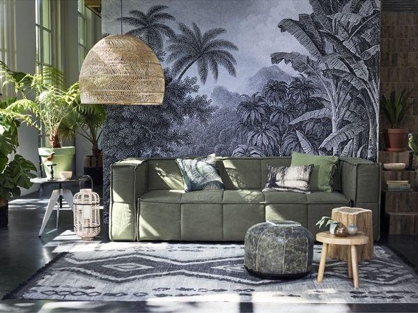 Lampe Suspension en osier  80cm  HK Living par HK Living  Petite Lily Interiors