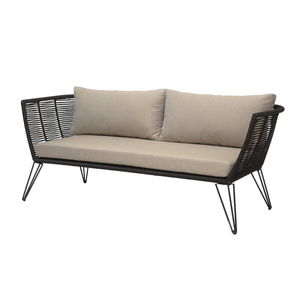 black outdoor sofa durable fabric for pets natural 175cm bloomingville