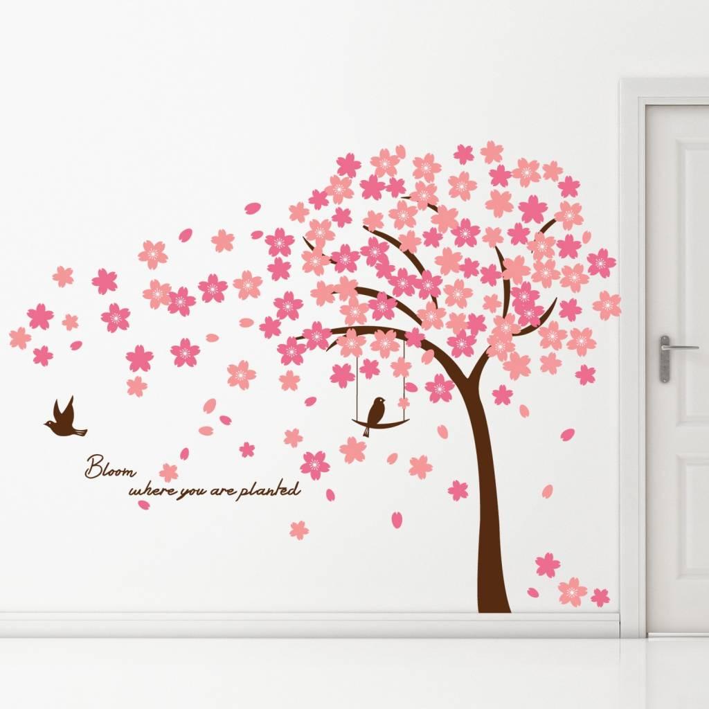 Muurstickers Babykamer Tijgertje.Wanddecoratie Babykamer Boom Muursticker Boom Roze Met Pandas