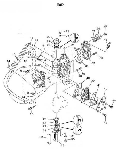 Yamaha Mariner motorblok onderd. 6/8 pk snel besteld