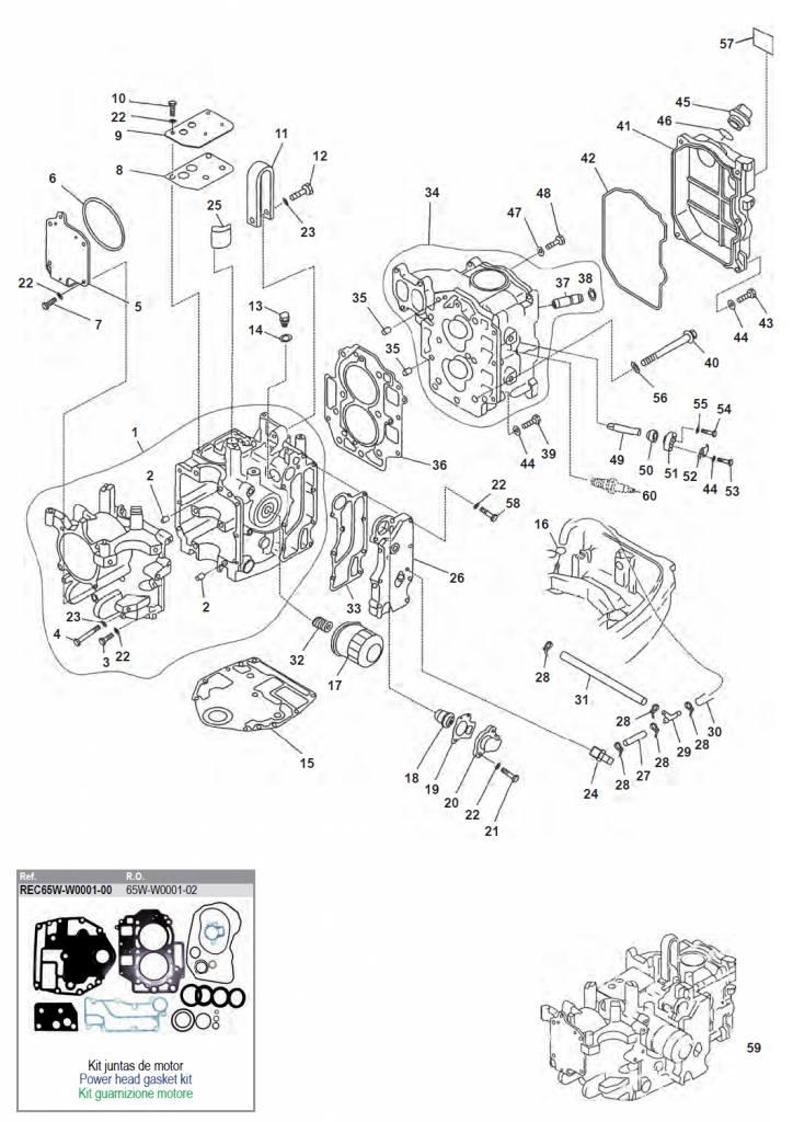Yamaha / Mariner / Mercury F20/F25 motorblok onderd