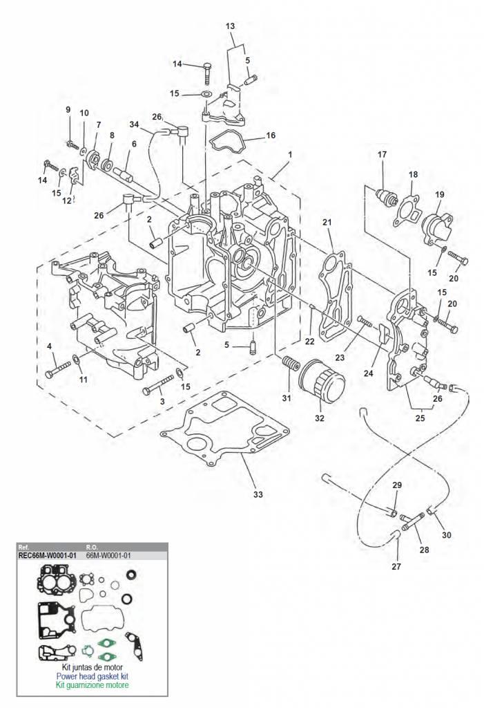 Yamaha/Mariner/Mercury/Tohatsu F9,9/F15 blok onderdelen