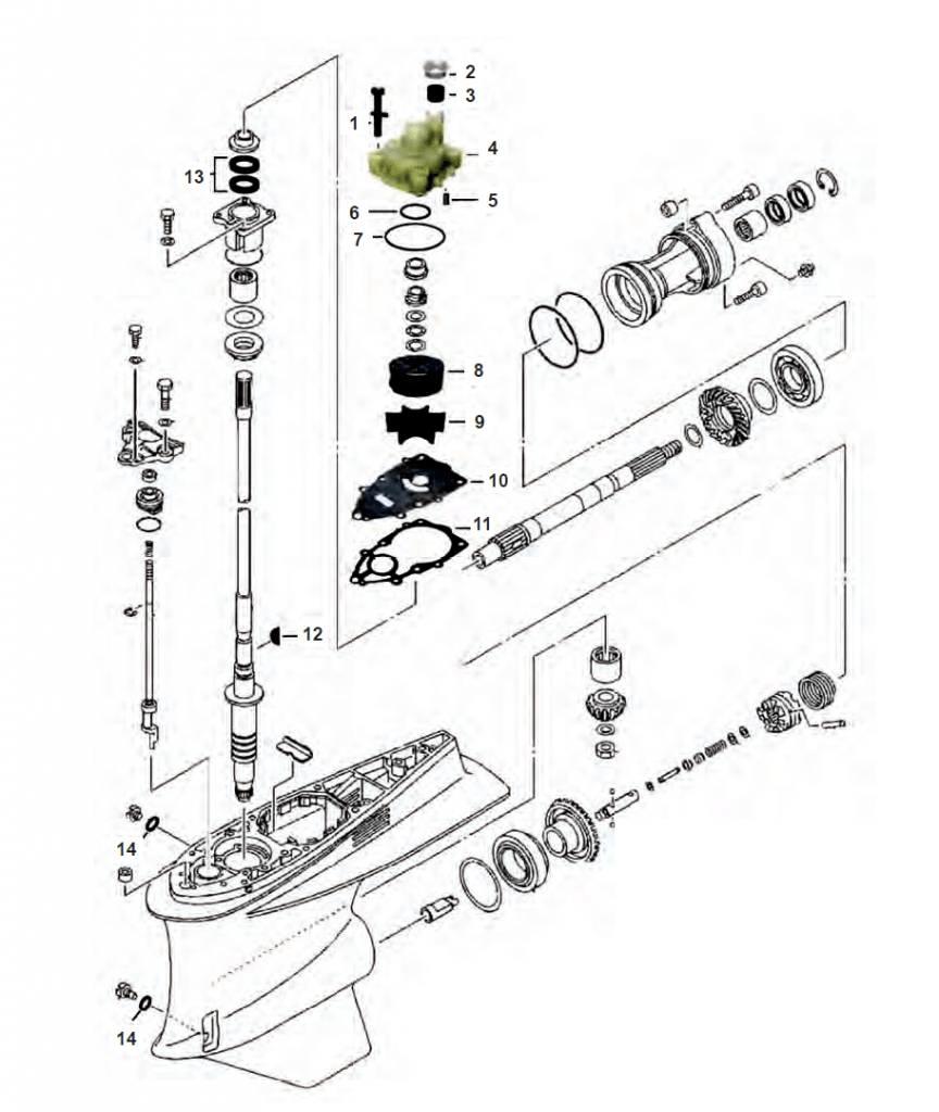 Yamaha 200/225/250/300 pk Staartstuk onderdelen