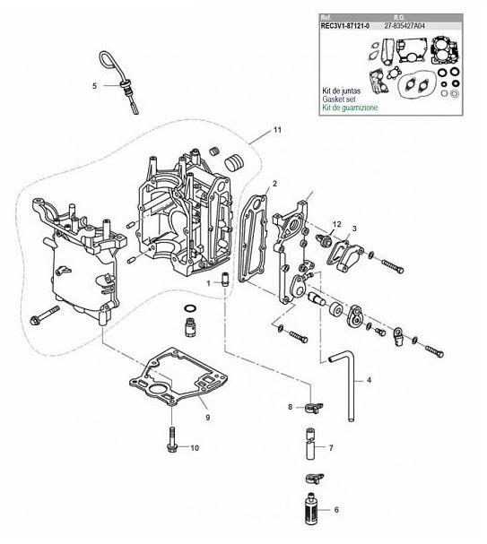 Mercury/Tohatsu/Parsun blok parts voordelig besteld bij