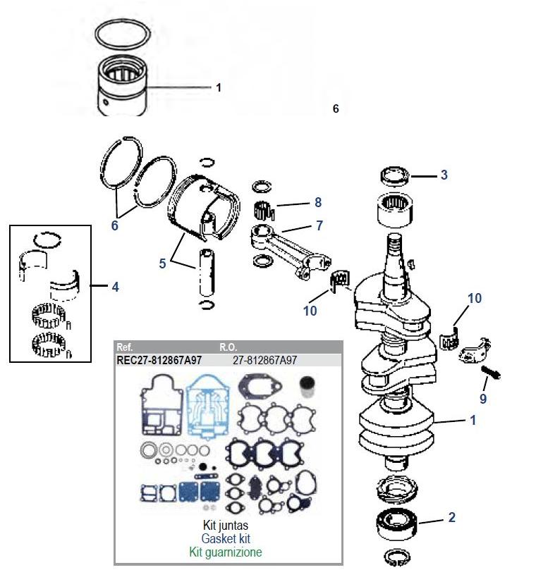 Mercury 40/45/50/55/60 3cil krukas onderdelen bestel bij