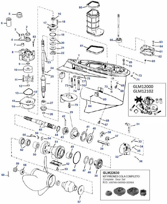 Johnson en Evinrude V4 staartstuk onderdelen bestel bij