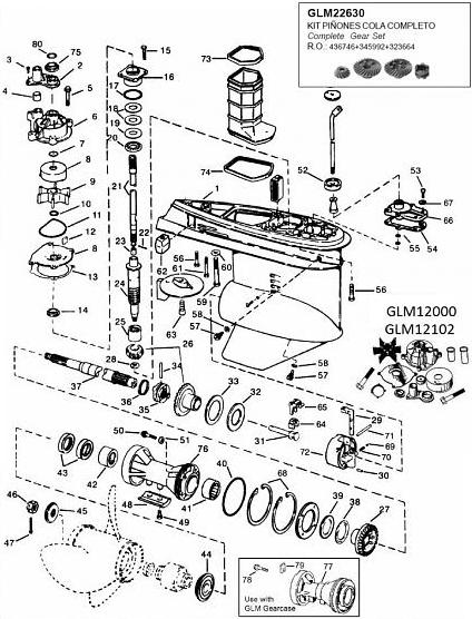 Evinrude/Johnson v4 90 graden staartstuk parts bestel