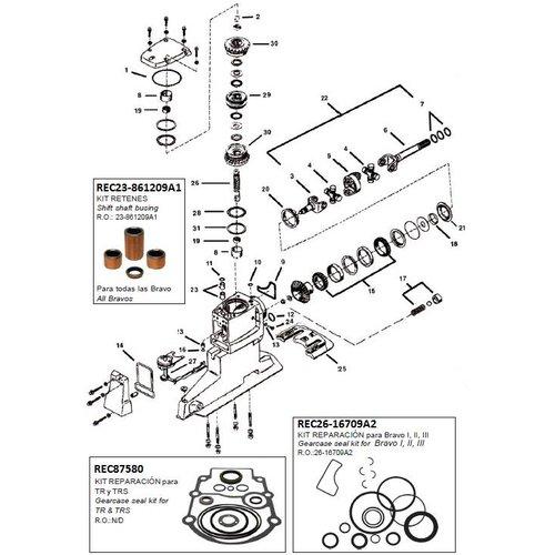 Mercruiser Staart-sterndrive+transom onderdelen