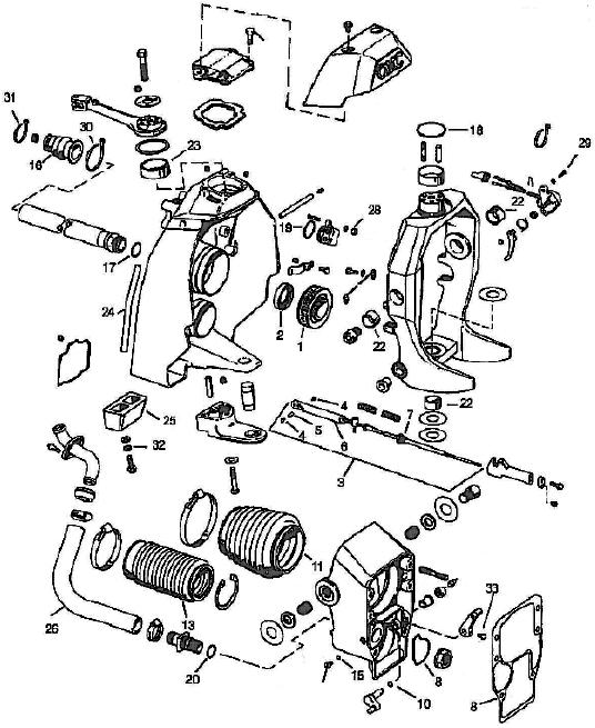 OMC sterndrive transom parts/onderdelen Ruim aanbod