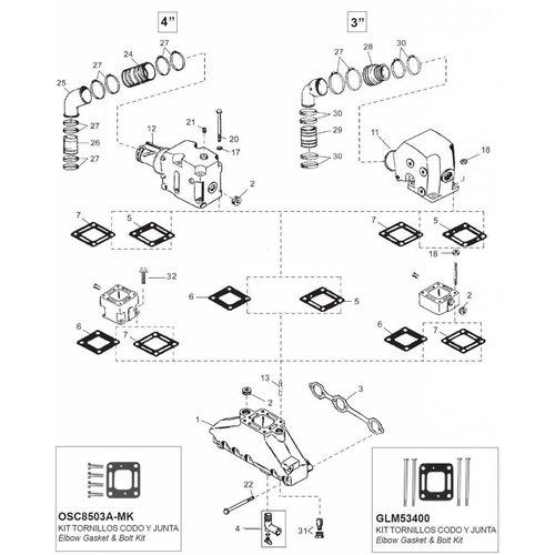 Mercruiser 6 cil uitlaat/spruitstuk onderdelen,Bestel hier