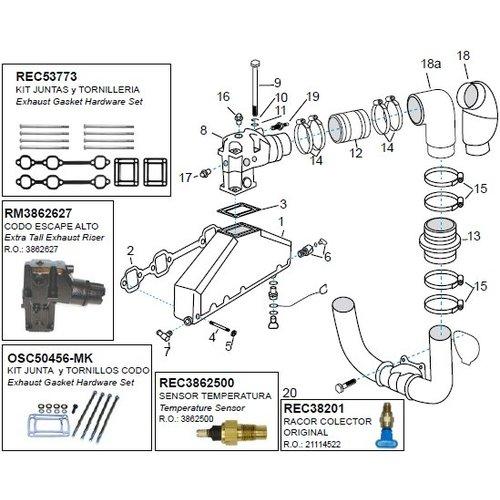Volvo Penta spruitstuk inlaat / uitlaat en turbo voordelig