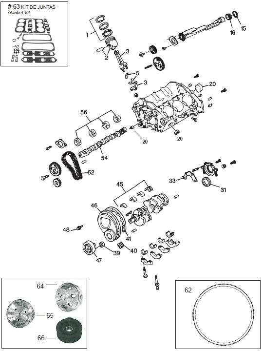 GM krukas, lager, zuiger piston pakking 262CID V6 4,3L