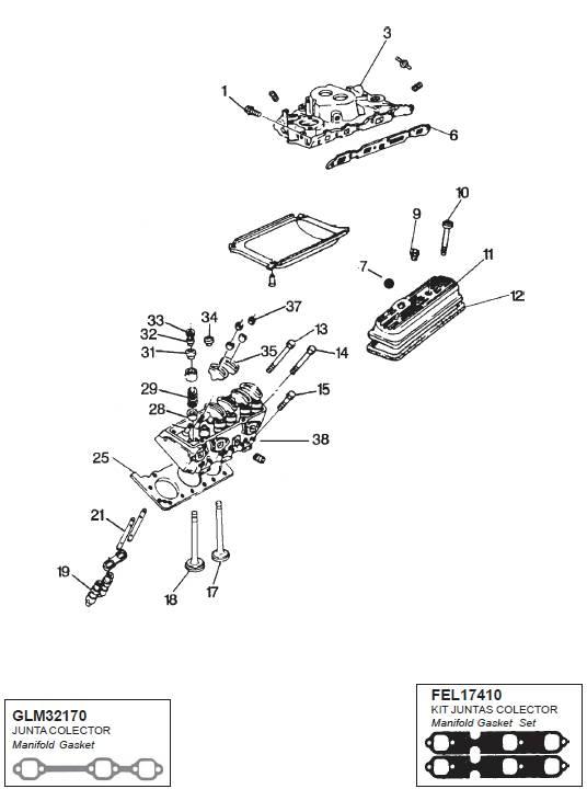 GM V6 Mercruiser/OMC/Volvo Cilinder +Inlaat spruitstuk