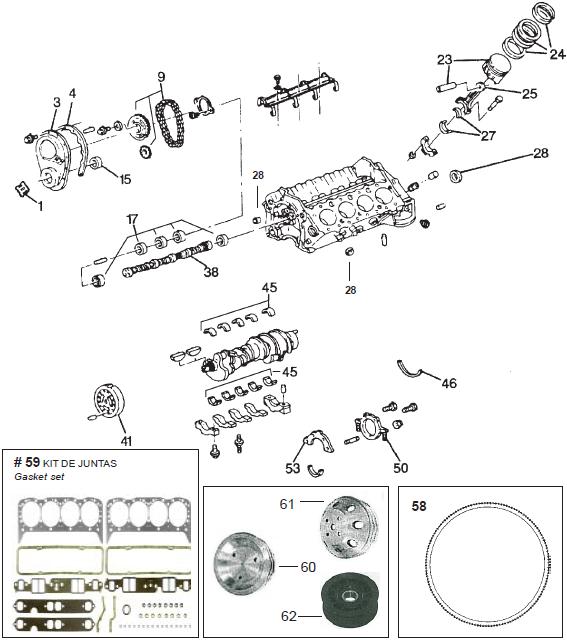 Mercruiser V8 small blok, krukas, drijfstang, lagers etc