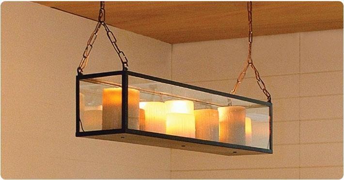 Hanglamp met kaarsen glas bronsnikkelchroom 9 x LED 1m