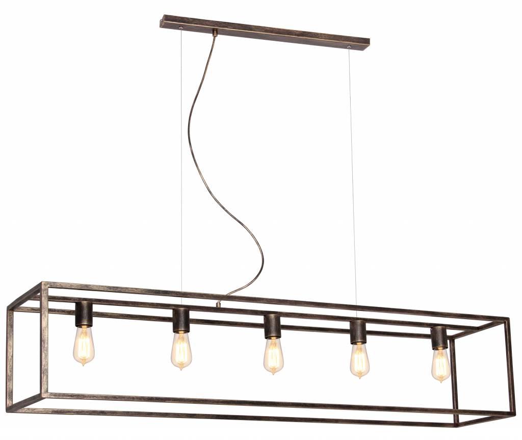 Hanglamp zwart  oud koper of ruggine E27x5 1500mm lang