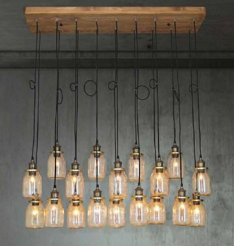 Hanglamp woonkamer hout glas E27x18 1300mm  Myplanetled