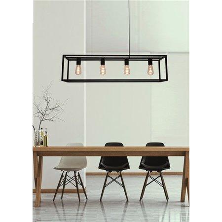 Landelijke hanglamp eettafel zwart ruggine koper 1m