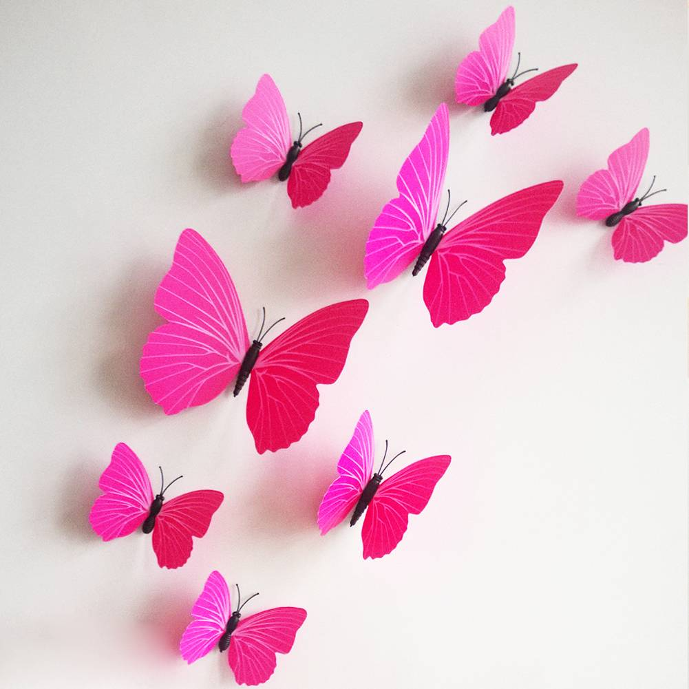 3D vlinders fuchsia  Muurstickerszo