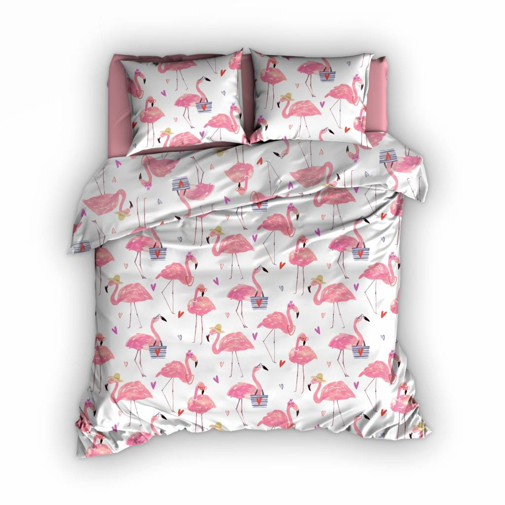 Satin d39Or Dekbedovertrek Satijn Flamingo