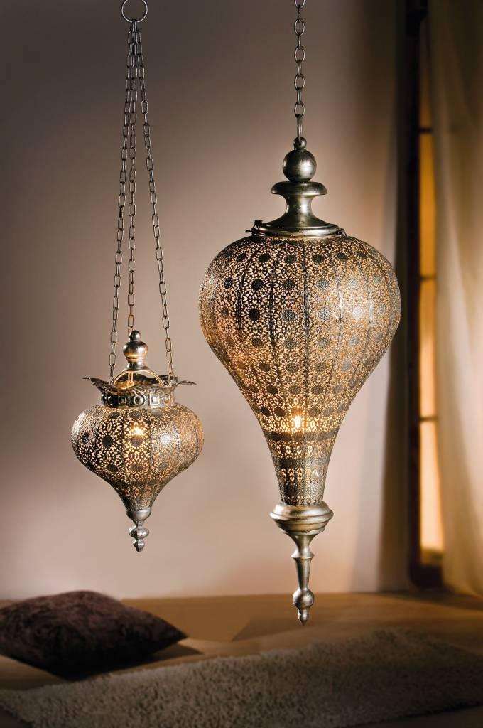 Orientalische Hngelaterne antiksilbern  69 cm gro