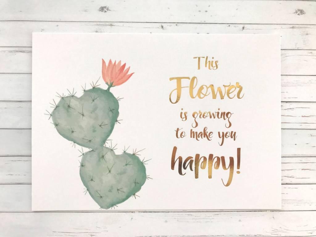 Postkarte mit Goldfolie Kaktus  HerzBuffet