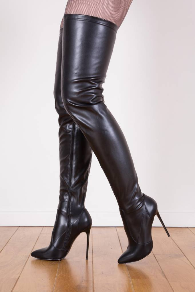 7a97cdb49 Black Giaro Elegant 12cm Heeled Thigh High Boots