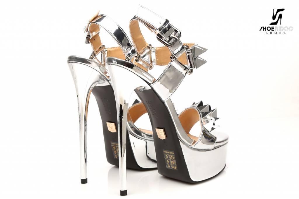 8cc373e8857 Silver Giaro Quotgalanaquot Studded Platform Fetish Sandals