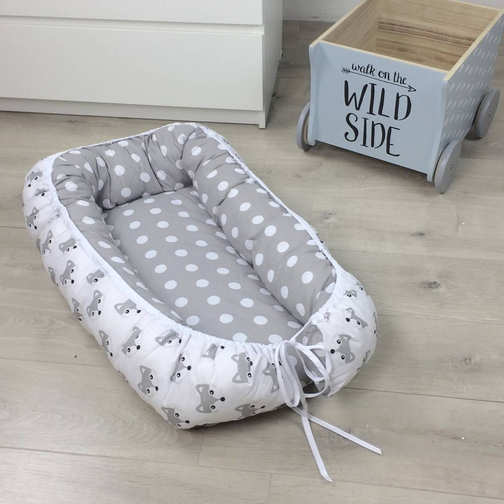 stokke high chair baby bunting how to make a cardboard cocoon quotfoxes dots grey quot puckdaddy nursery