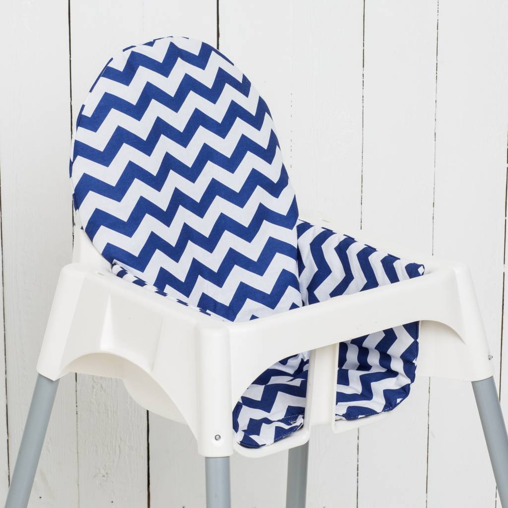 stokke high chair baby bunting posture perfect seat cushion highchair quotchevron blue quot puckdaddy