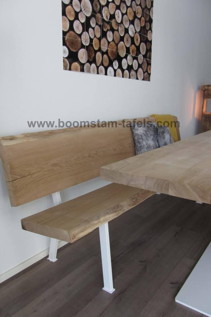 eetkamerbank met eiken hout en staal combinatie  Boomstam