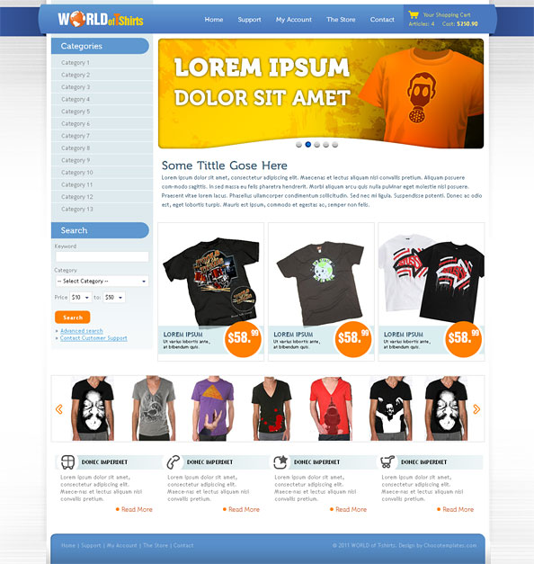 World Of TShirts Free Ecommerce Website CSS Template For TShirts - Free ecommerce website templates shopping cart