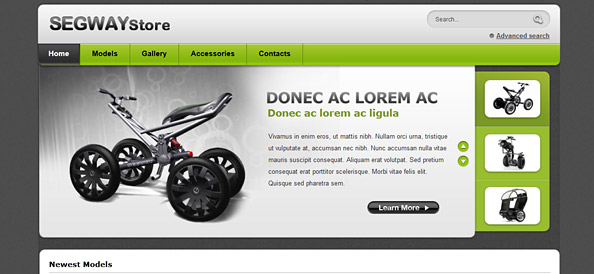 Segway Store – Ecommerce Website CSS Template