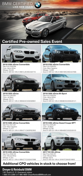 Bmw 320i 2017 Price : price, Certified, Pre-Owned, Sales, Event,, Dreyer, Reinbold, Greenwood,