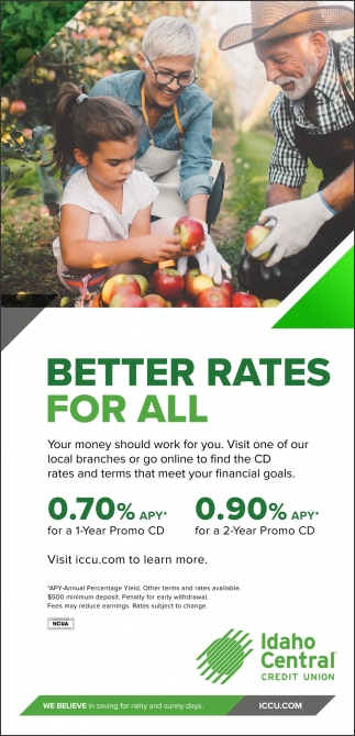 Idaho Central Credit Union Cd Rates : idaho, central, credit, union, rates, Better, Rates, Idaho, Central, Credit, Union