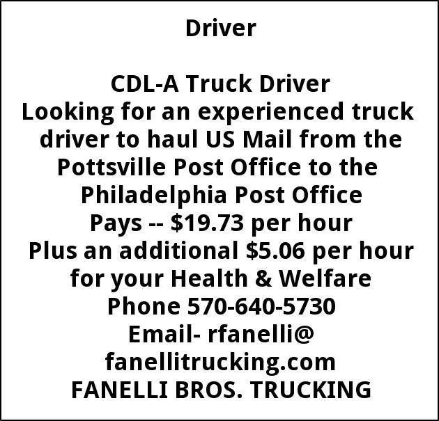 CDL A Driver, Fanelli Trucking, Pottsville, PA
