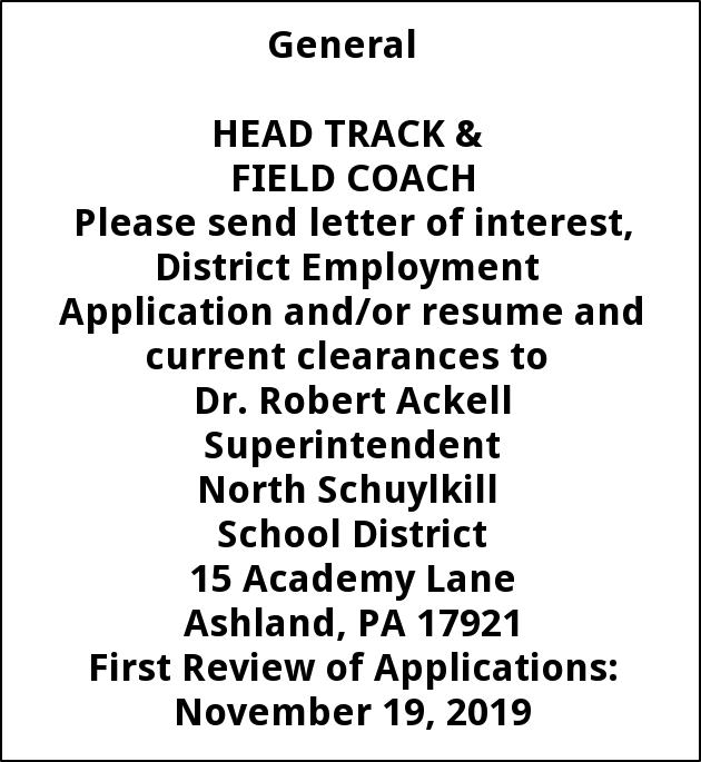 Head Track and Field Coach, North Schuylkill School