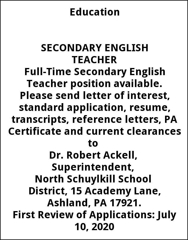 Secondary English Teacher, North Schuylkill School