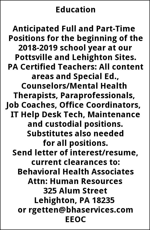 PA Certified Teachers, Councelors/Mental Health Therapists