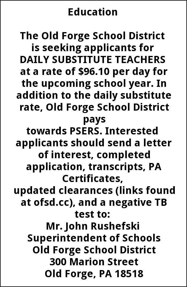 Education, Old Forge School District, Old Forge, PA